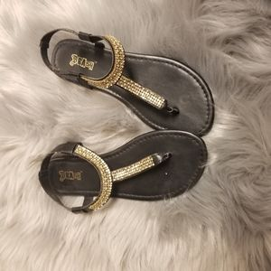 Gorgeous Brash Black and Gold Sandals